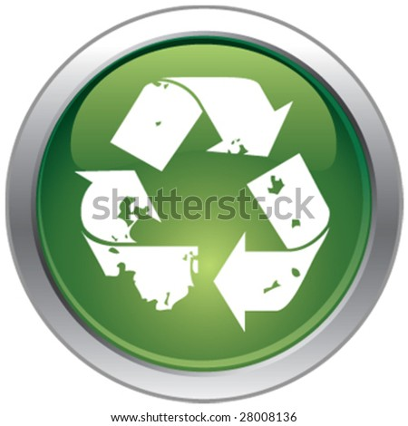 Recycle glossy chrome button - stock vector