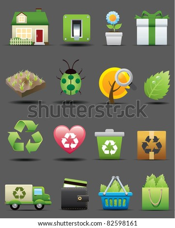 Recycle green icons set. ecology & nature image. - stock vector