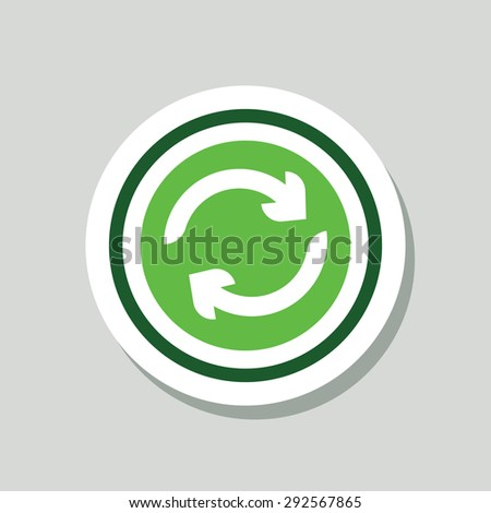 Recycle Green Sticker Icon - stock vector