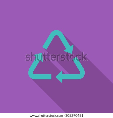 Recycle icon. Flat vector related icon with long shadow for web and mobile applications. It can be used as - logo, pictogram, icon, infographic element. Vector Illustration. - stock vector