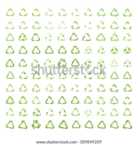 Recycle Icons Set - Isolated On White Background - Vector Illustration, Graphic Design Editable For Your Design - stock vector