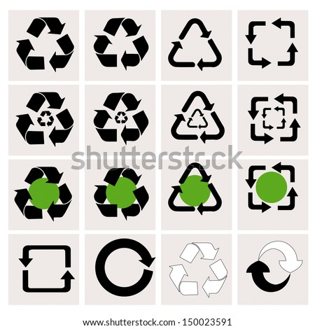 Recycle icons with White Background - stock vector