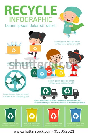 Recycle Infographic, collect rubbish for recycling,Save the World , Boy and girl recycling, Kids Segregating Trash, children and recycling, Illustration of people Segregating Trash. - stock vector