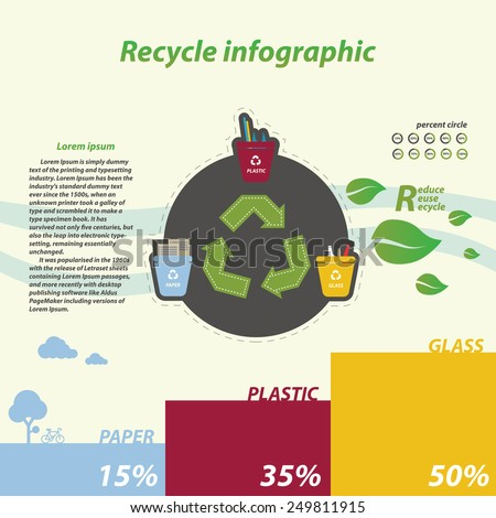 recycle infographics, tree recycling bins illustration with paper plastic glass - stock vector
