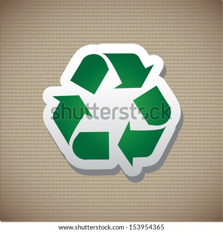 recycle label over lineal background vector illustration  - stock vector