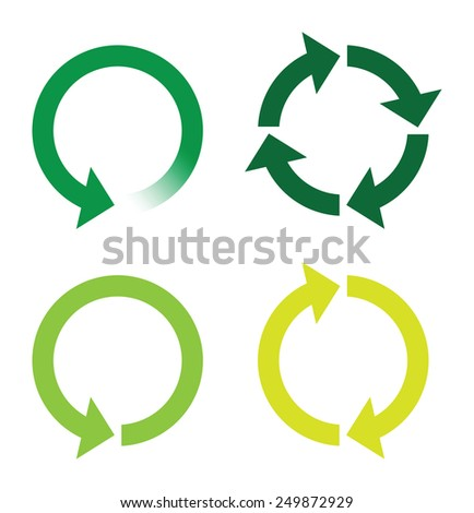 recycle or reload page green icons - stock vector