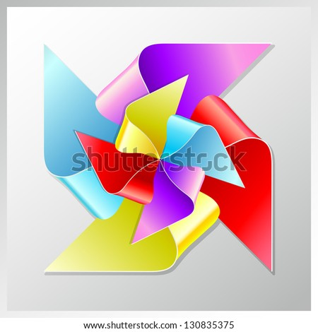 recycle paper colorful windmill, eps10 - stock vector