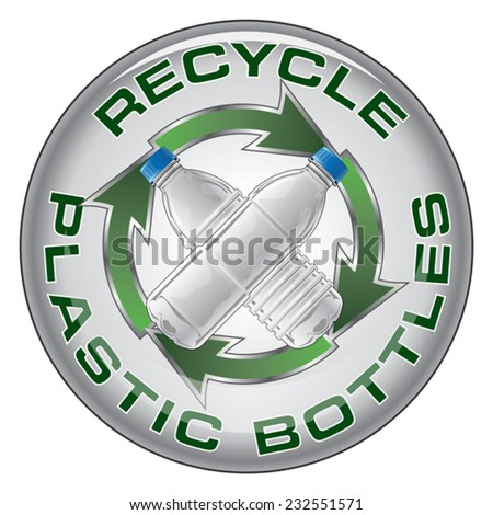 Recycle Plastic Bottles Design is an illustration of a recycle symbol with two type of clear plastic bottles crossed in the center on a sticker or emblem. - stock vector