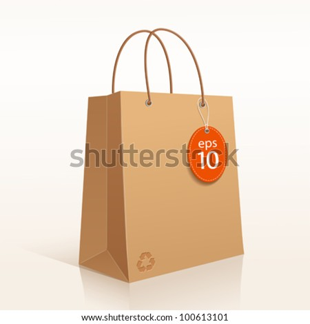 Recycle shopping brown bag. vector illustration - stock vector