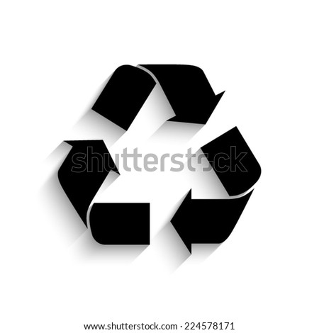 Recycle sign - black vector icon with shadow - stock vector