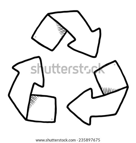 recycle sign / cartoon vector and illustration, black and white, hand drawn, sketch style, isolated on white background. - stock vector