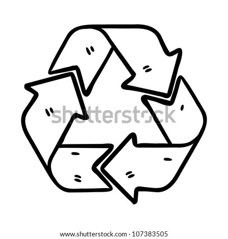 recycle sign in doodle style - stock vector