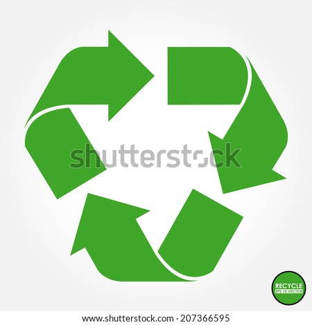 Recycle sign in green color - isolated - stock vector
