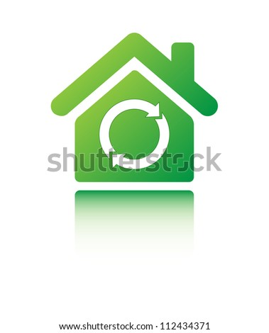 Recycle sign in the green home sign on white - stock vector
