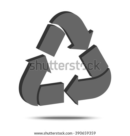 Recycle sign isolated on white background. Isometric vector illustration. Symbol of material renewability and reusability. Safe for  environment. Ecological emblem  for packaging. - stock vector