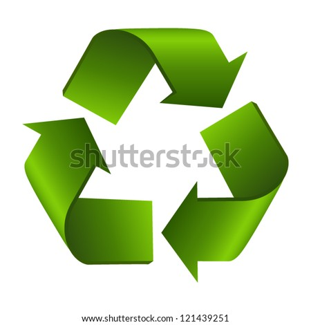 Recycle sign or symbol isolated on white background. Stylized icon - stock vector
