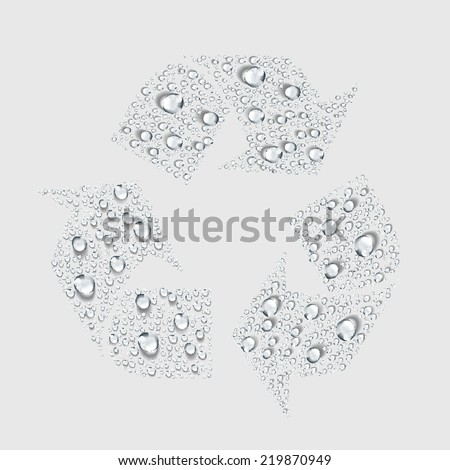 Recycle sign, transparent water drop vector - stock vector