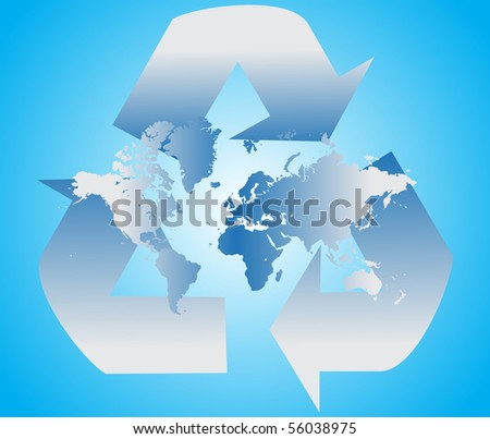 Recycle sign with blue world map - stock vector