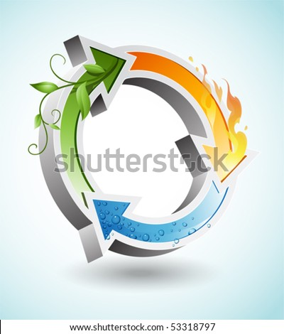 Recycle sign with elements of water, fire and life - stock vector