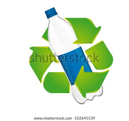 recycle sign with plastic bottle isolated over white background. vector - stock vector