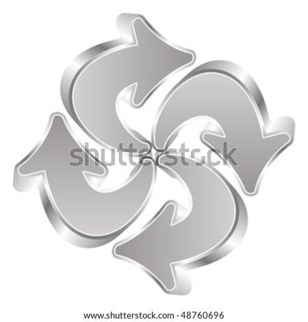 recycle silver arrows - stock vector