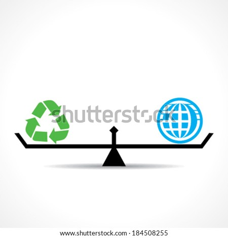 recycle symbol and global both are equal , go green and save earth concept vector - stock vector