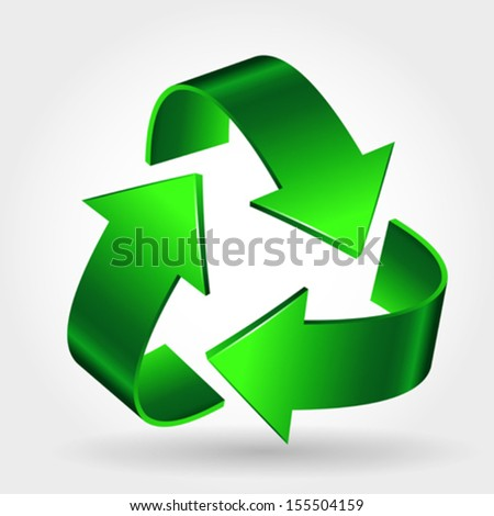 Recycle Symbol Icon, Green Arrows Sign Isolated On White  - stock vector