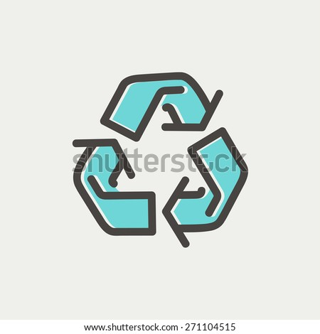 Recycle symbol icon thin line for web and mobile, modern minimalistic flat design. Vector icon with dark grey outline and offset colour on light grey background. - stock vector