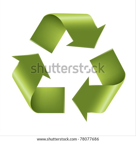 Recycle Symbol, Isolated On White Background, Vector Illustration - stock vector