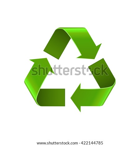 Recycle symbol isolated on white, green arrows sign, vector icon. Realistic Eco recycle icon  - stock vector