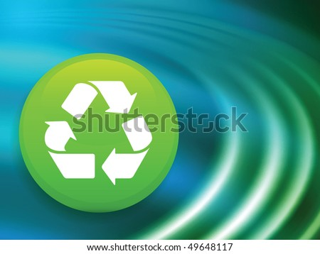 Recycle Symbol on Abstract Liquid Wave Background Original Vector Illustration - stock vector