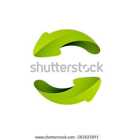 Recycle symbol or sign of arrow refresh, reload, rotation, packaging, loop sphere logo. Vector illustration design elements. - stock vector