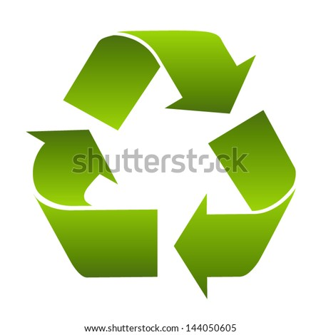 Recycle symbol or sign of conservation green icon isolated on white background. Vector  symbol on the packaging.