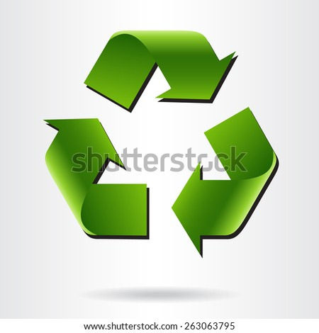 Recycle symbol or sign of conservation green icon. Vector sign