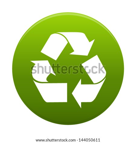 Recycle symbol or sign of conservation inside a green circle  icon isolated on white background. Vector  symbol on the packaging. - stock vector