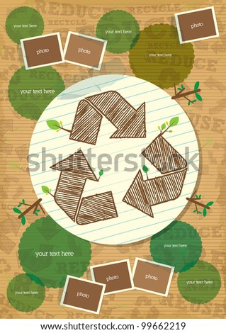 recycle symbol poster with photo and paper element - stock vector