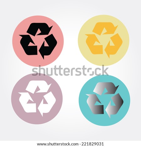 recycle symbol vector on colorful circle