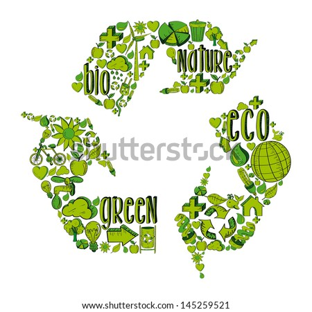 Recycle symbol with environmental green hand drawn icons.  This illustration is layered for easy manipulation and custom coloring