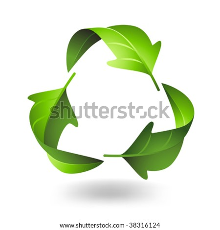 Recycle Symbol with Green Leaves