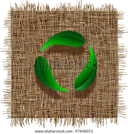 Recycle symbol with leaf on organic weave.Eco vector background - stock vector