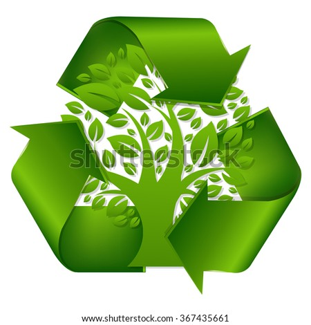 Recycle Symbol With Tree With Gradient Mesh, Vector Illustration - stock vector
