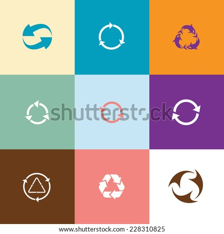 Recycle symbols set. Flat color vector icons. - stock vector