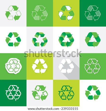 Recycle Symbols set in different illustration styles - Vector icons - stock vector