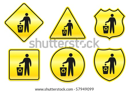 Recycle Trash Icon on Yellow Designs Original Illustration