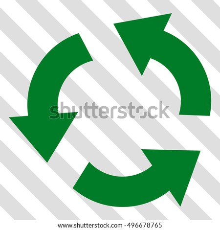 Recycle vector icon. Image style is a flat green iconic symbol on a hatched diagonal transparent background.