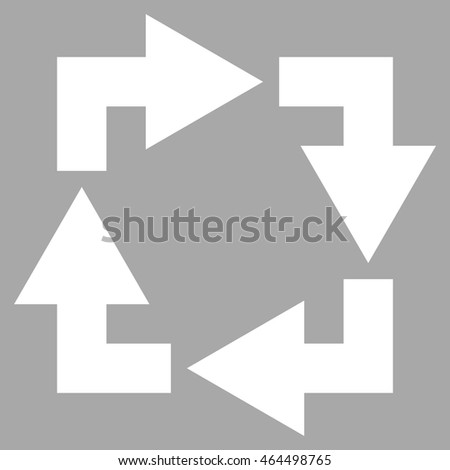 Recycle vector icon. Image style is flat recycle pictogram symbol drawn with white color on a silver background.