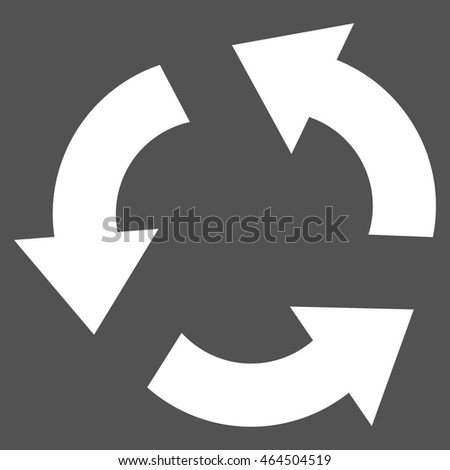 Recycle vector icon. Image style is flat recycle pictogram symbol drawn with white color on a gray background.