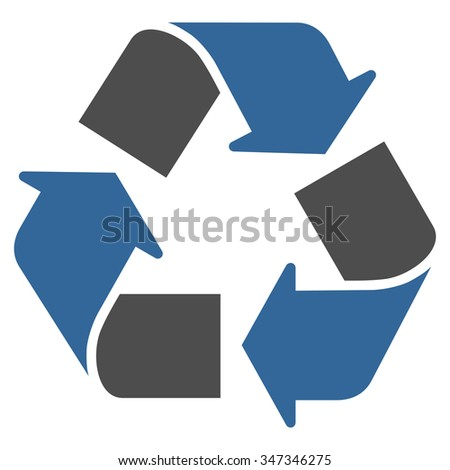 Recycle vector icon. Style is bicolor flat symbol, cobalt and gray colors, rounded angles, white background. - stock vector