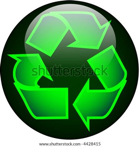 Recycle Web Button - stock vector