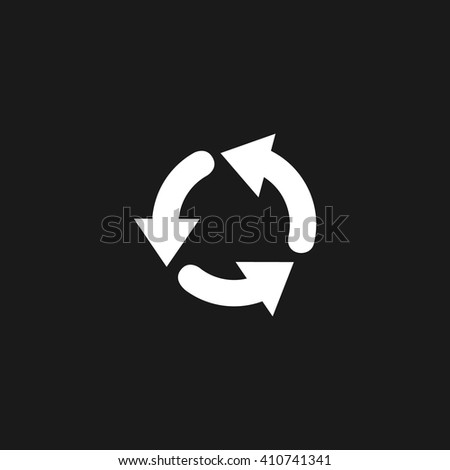 Recycle white icon on gray background